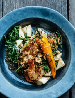 Stir fried prawn with Thai samphire at Restaurant Bolan — Food Still Life