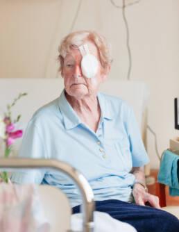 Portrait of patient after eye surgery